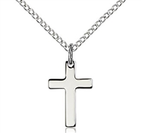"Sterling Silver Cross Pendant, Sterling Silver Lite Curb Chain, 1/2"" x 3/8"""