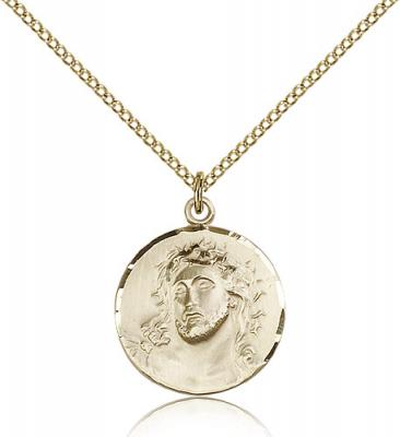"Gold Filled Ecce Homo Pendant, Gold Filled Lite Curb Chain, 3/4"" x 3/4"""