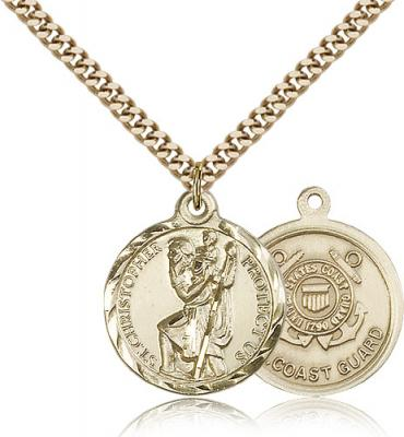 "Gold Filled St. Christopher Coast Guard Pendant, Stainless Gold Heavy Curb Chain, 7/8"" x 3/4"""
