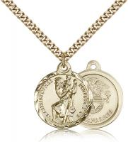 "Gold Filled St. Christopher Marine Pendant, Stainless Gold Heavy Curb Chain, 7/8"" x 3/4"""