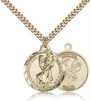 "Gold Filled St. Christopher National Guard Pendant, Stainless Gold Heavy Curb Chain, 7/8"" x 3/4"""