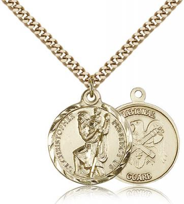 "Gold Filled St. Christopher Pendant, Stainless Gold Heavy Curb Chain, 7/8"" x 3/4"""
