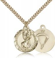 "Gold Filled St. Christopher / Paratrooper Pendant, Stainless Gold Heavy Curb Chain, 7/8"" x 3/4"""