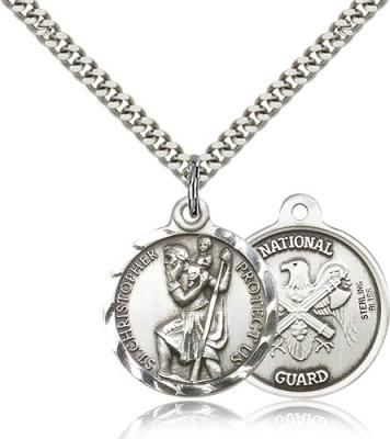 "Sterling Silver St. Christopher Pendant, Stainless Silver Heavy Curb Chain, 7/8"" x 3/4"""