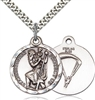 "Sterling Silver St. Christopher / Paratrooper Pend, Stainless Silver Heavy Curb Chain, 7/8"" x 3/4"""