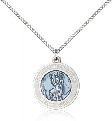 "Sterling Silver St. Christopher Pendant, Sterling Silver Lite Curb Chain, 3/4"" x 5/8"""