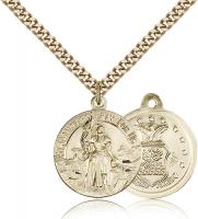 "Gold Filled St. Joan of Arc Air Force Pendant, Stainless Gold Heavy Curb Chain, 7/8"" x 3/4"""
