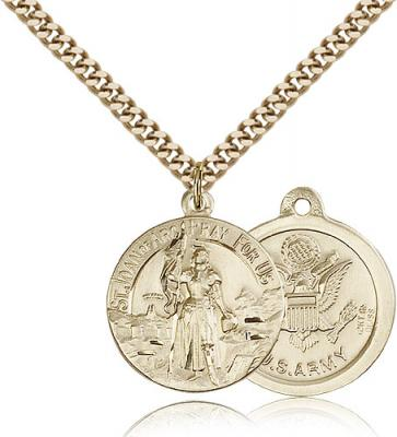 "Gold Filled St. Joan of Arc Pendant, Stainless Gold Heavy Curb Chain, 7/8"" x 3/4"""
