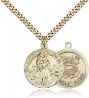 "Gold Filled St. Joan of Arc Coast Guard Pendant, Stainless Gold Heavy Curb Chain, 7/8"" x 3/4"""