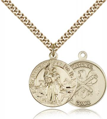 "Gold Filled St. Joan of Arc National Guard Pendant, Stainless Gold Heavy Curb Chain, 7/8"" x 3/4"""