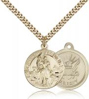 "Gold Filled St. Joan of Arc Navy Pendant, Stainless Gold Heavy Curb Chain, 7/8"" x 3/4"""
