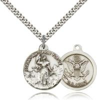 "Sterling Silver St. Joan of Arc Army Pendant, Stainless Silver Heavy Curb Chain, 7/8"" x 3/4"""