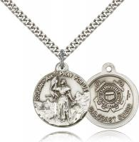 "Sterling Silver St. Joan of Arc Coast Guard Pendant, Stainless Silver Heavy Curb Chain, 7/8"" x 3/4"""