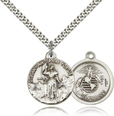 "Sterling Silver St. Joan of Arc Marine Pendant, Stainless Silver Heavy Curb Chain, 7/8"" x 3/4"""