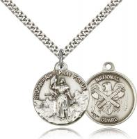 "Sterling Silver St. Joan of Arc National Guard Pendant, Stainless Silver Heavy Curb Chain, 7/8"" x 3/4"""