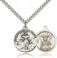 "Sterling Silver St. Joan of Arc Navy Pendant, Stainless Silver Heavy Curb Chain, 7/8"" x 3/4"""