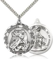 "Sterling Silver St. Michael the Archangel Pendant, Stainless Silver Heavy Curb Chain, 1 3/8"" x 1 1/4"""