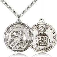 "Sterling Silver St. Michael / Air Force Pendant, Stainless Silver Heavy Curb Chain, 1 3/8"" x 1 1/4"""