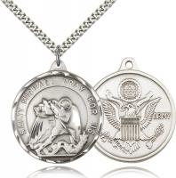 "Sterling Silver St. Michael / Army Pendant, Stainless Silver Heavy Curb Chain, 1 3/8"" x 1 1/4"""