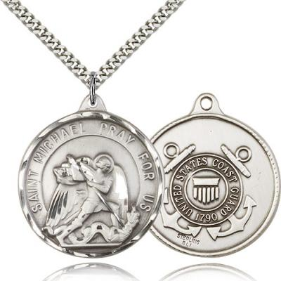 "Sterling Silver St. Michael / Coast Guard Pendant, Stainless Silver Heavy Curb Chain, 1 3/8"" x 1 1/4"""
