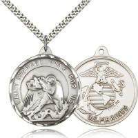 "Sterling Silver St. Michael / Marines Pendant, Stainless Silver Heavy Curb Chain, 1 3/8"" x 1 1/4"""
