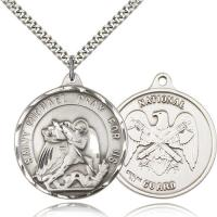 "Sterling Silver St. Michael / Nat'l Guard Pendant, Stainless Silver Heavy Curb Chain, 1 3/8"" x 1 1/4"""