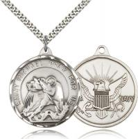 "Sterling Silver St. Michael / Navy Pendant, Stainless Silver Heavy Curb Chain, 1 3/8"" x 1 1/4"""