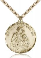 "Gold Filled St. Ann Pendant, Stainless Gold Heavy Curb Chain, 1 3/8"" x 1 1/8"""