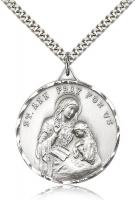 "Sterling Silver St. Ann Pendant, Stainless Silver Heavy Curb Chain, 1 3/8"" x 1 1/8"""