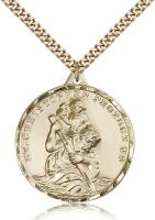 "Gold Filled St. Christopher Pendant, Stainless Gold Heavy Curb Chain, 1 3/8"" x 1 1/8"""