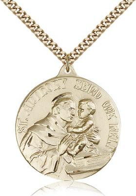 "Gold Filled St. Anthony Pendant, Stainless Gold Heavy Curb Chain, 1 3/8"" x 1 1/8"""