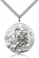 "Sterling Silver St. Anthony Pendant, Stainless Silver Heavy Curb Chain, 1 3/8"" x 1 1/8"""