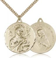 "Gold Filled Our Lady of Perpetual Help Pendant, Stainless Gold Heavy Curb Chain, 1 3/8"" x 1 1/4"""