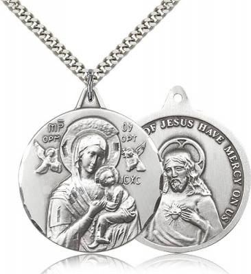 "Sterling Silver Our Lady of Perpetual Help Pendant, Stainless Silver Heavy Curb Chain, 1 3/8"" x 1 1/4"""
