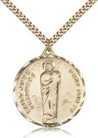 "Gold Filled St. Jude Pendant, Stainless Gold Heavy Curb Chain, 1 1/4"" x 1 1/8"""