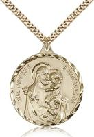 "Gold Filled St. Joseph Pendant, Stainless Gold Heavy Curb Chain, 1 3/8"" x 1 1/8"""