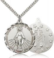 "Sterling Silver Miraculous Pendant, Stainless Silver Heavy Curb Chain, 1 3/8"" x 1 1/4"""