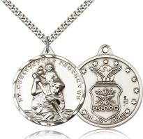 "Sterling Silver St. Christopher Air Force Pendant, Stainless Silver Heavy Curb Chain, 1 3/8"" x 1 1/4"""