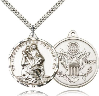 "Sterling Silver St. Christopher Army Pendant, Stainless Silver Heavy Curb Chain, 1 3/8"" x 1 1/4"""