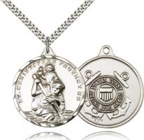 "Sterling Silver St. Christopher Coast Guard Pendant, Stainless Silver Heavy Curb Chain, 1 3/8"" x 1 1/4"""