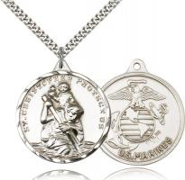 "Sterling Silver St. Christopher Marine Pendant, Stainless Silver Heavy Curb Chain, 1 3/8"" x 1 1/4"""