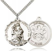 "Sterling Silver St. Christopher National Guard Pendant, Stainless Silver Heavy Curb Chain, 1 3/8"" x 1 1/4"""