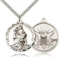 "Sterling Silver St. Christopher Navy Pendant, Stainless Silver Heavy Curb Chain, 1 3/8"" x 1 1/4"""