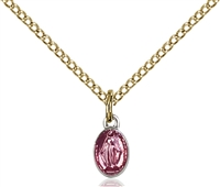 "Two-Tone SS/GP Miraculous Pink Epoxy Pendant, Gold Filled Lite Curb Chain, 1/4"" x 1/8"""