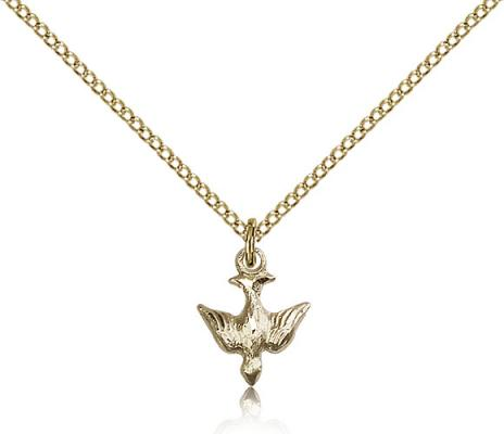 "Gold Filled Holy Spirit Pendant, Gold Filled Lite Curb Chain, 1/2"" x 3/8"""