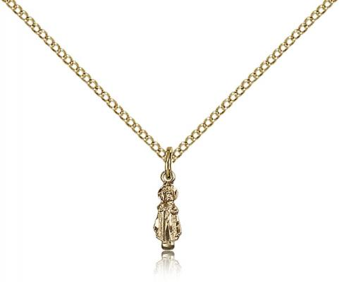 "Gold Filled Infant Pendant, Gold Filled Lite Curb Chain, 3/8"" x 1/8"""