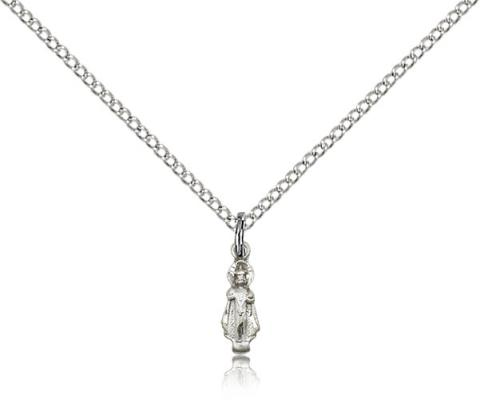 "Sterling Silver Infant Pendant, Sterling Silver Lite Curb Chain, 3/8"" x 1/8"""