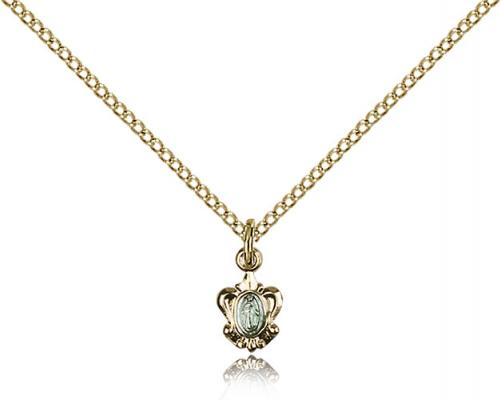 "Two-Tone SS/GP Miraculous Pendant, Gold Filled Lite Curb Chain, 3/8"" x 1/4"""