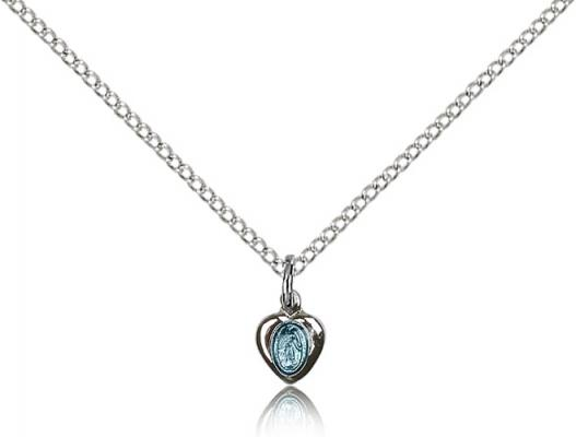 "Sterling Silver Miraculous Pendant, Sterling Silver Lite Curb Chain, 1/4"" x 1/8"""