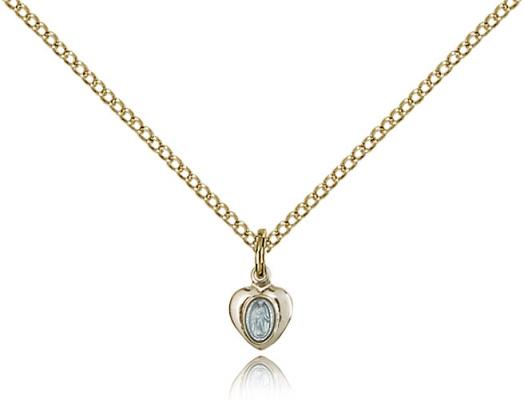 "Two-Tone SS/GP Miraculous Pendant, Gold Filled Lite Curb Chain, 1/4"" x 1/8"""